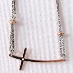 925 STERLING SILVER & GOLD TONE CROSS NECKLACE